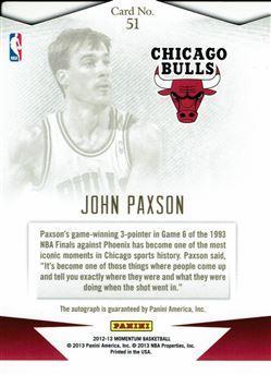 2012-13 Momentum Autographs Force #51 John Paxson/25