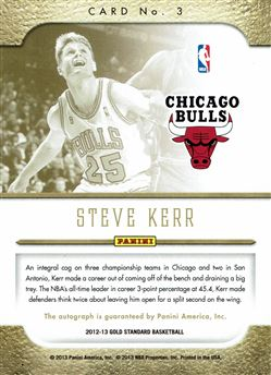 2012-13 Panini Gold Standard Marks of Gold Autographs #3 Steve Kerr/49