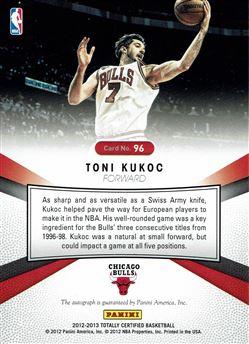 2012-13 Totally Certified Autographs #96 Toni Kukoc/49