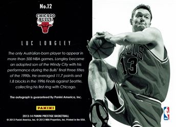 2013-14 Prestige Bonus Shots Autographs #12 Luc Longley