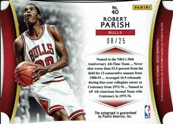 2014-15 Select Die Cut Autographs #40 Robert Parish/25