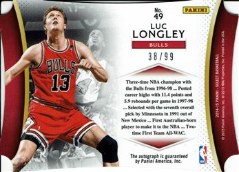 2014-15 Select Die Cut Autographs #49 Luc Longley/99