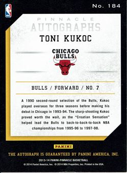 2013-14 Pinnacle Autographs #184 Toni Kukoc