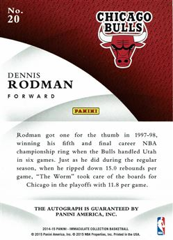2014-15 Immaculate Collection Ink Gold #20 Dennis Rodman