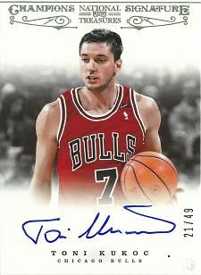 2012-13 Panini National Treasures Champions Signatures #11 Toni Kukoc /49