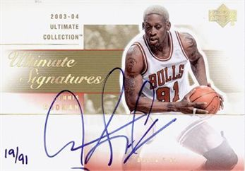 2003-04 Ultimate Collection Signatures Gold #RO Dennis Rodman /91