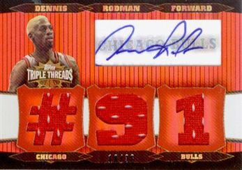 2006-07 Topps Triple Threads Relics Autographs #85 Dennis Rodman #91