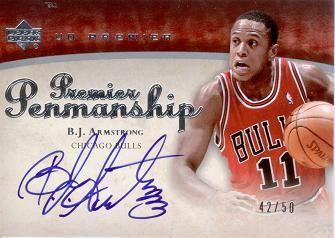 2007-08 Upper Deck Premier Penmanship Autographs #BA B.J. Armstrong /50