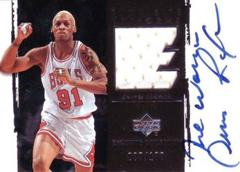 2003-04 Exquisite Collection Patches Autographs #DR Dennis Rodman /100