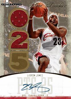 2007-08 Fleer Hot Prospects Stat Tracker Jersey Autographs #23 LeBron James