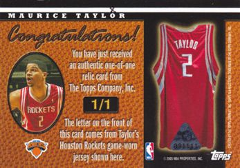 "2005-06 Topps Big Game In the Name #MT Maurice Taylor 5 ""O"""
