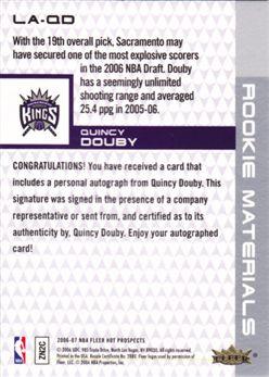 2006-07 Fleer Hot Prospects Rookie Materials Letter Autographs #QD Quincy Douby