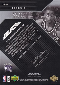 "2006-07 UD Black Autographs Nameplates #QD Quincy Douby ""O"""