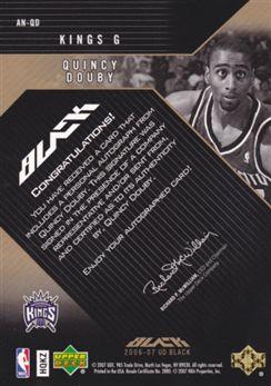 "2006-07 UD Black Autographs Nameplates 5 #QD Quincy Douby ""U"""