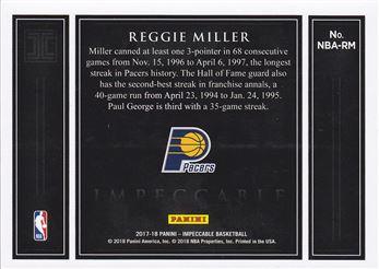 2017-18 Panini Impeccable NBA Logo Silver Bar #71 Reggie Miller