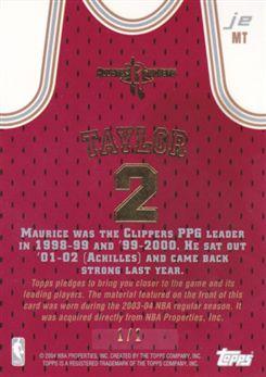 2003-04 Topps Jersey Edition Logoman #MT Maurice Taylor