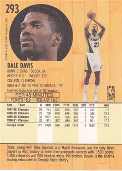 1991-92 Fleer #293 Dale Davis UER RC/(Photo on back act-/ually Sean Green)