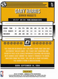 2018-19 Donruss Optic #70 Gary Harris